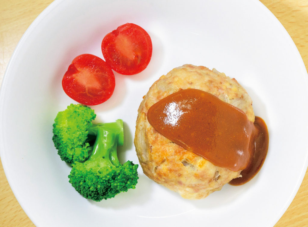豆腐とごぼうのハンバーグステーキ